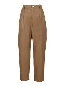 Red Valentino - Leather trousers with belt loops in camel color