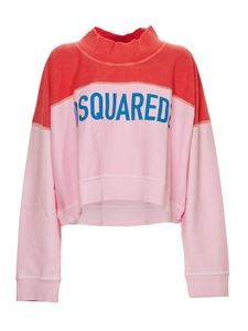 Dsquared2 - Crop sweatshirt in pink and red