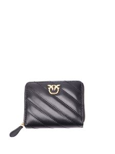 Pinko - Taylor quilted leather wallet in black