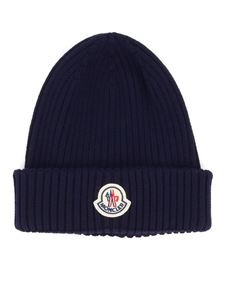 Moncler - Rib knitted wool beanie in blue