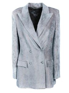 Alberta Ferretti - Double-breasted jacket in grey and pink