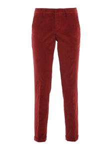 Fay - Velvet chino trousers in red