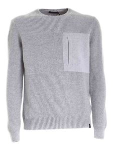 Fay - Chest pocket sweater in melange grey