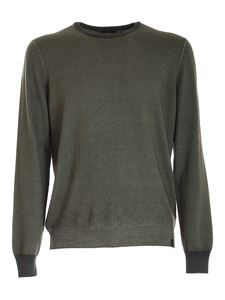 Fay - Green melange sweater with logo