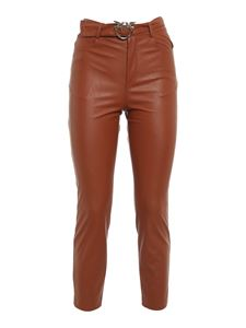 Pinko - Susan 15 synthetic leather trousers in brown