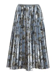 Red Valentino - Floral printed accordion skirt in light blue
