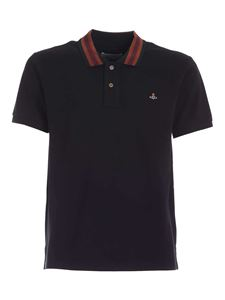 Vivienne Westwood  - Classic polo shirt in black with striped collar