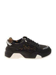Versace Jeans Couture - Baroque mesh sneakers in black
