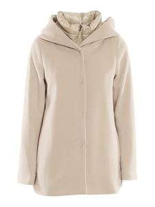 Herno - Wool and nylon puffer jacket in beige