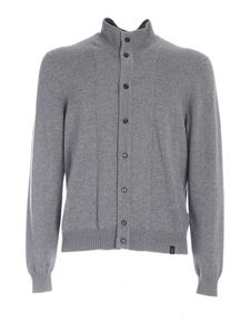 Fay - Zip and buttoned cardigan in grey