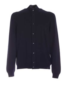 Fay - Zip and buttoned cardigan in blue