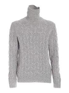 Paolo Fiorillo - Braided knit high neck sweater in grey