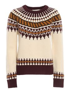 Tory Burch - Patterned wool sweater in cream color