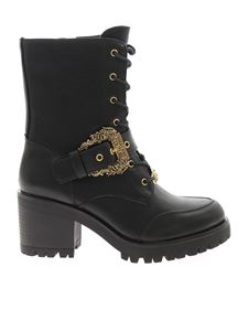 Versace Jeans Couture - Logo buckle ankle boots in black