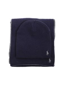 POLO Ralph Lauren - Beanie and scarf set in blue and grey