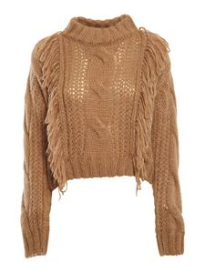 Roy Rogers's - Cable-knit mohair blend jumper in camel color