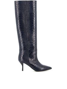 Semicouture - Croco printed leather boots in black