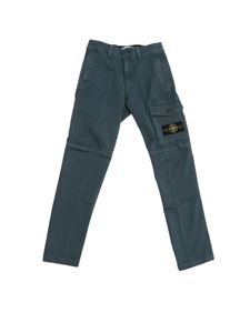 Stone Island Junior - Logo patch pants in teal color