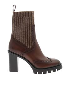 Santoni - Brogue ankle boots in brown