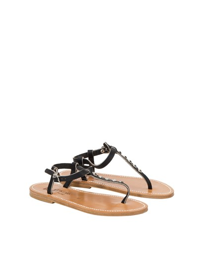 Black leather sandals with studs detail and ankle strap closure. - K. Jacques - leather sandals