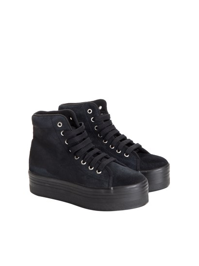 Black suede sneakers, rubber sole. - JC Play - Suede sneakers