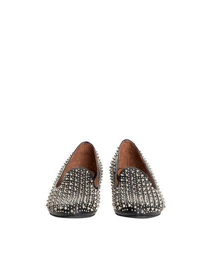 Black moccasins with studs application, rubber sole. - Jeffrey Campbell - Moccasins with studs