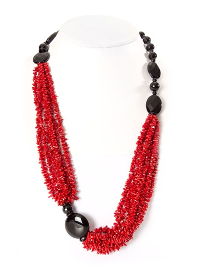 Necklace composed of six strands of red natural polished coral and onyx cutted briolè. - Collezione Capri - CORAL NECKLACE