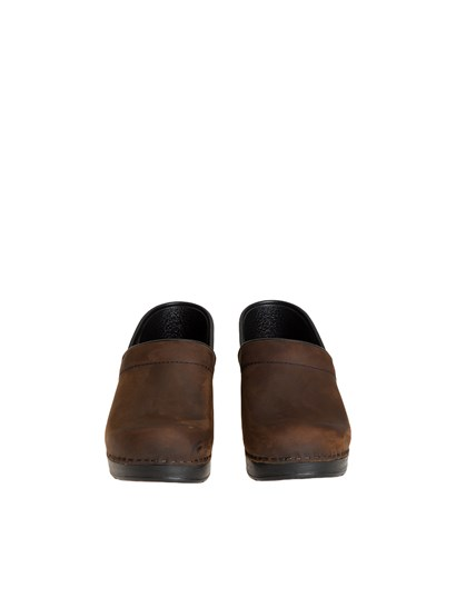 Brown leather clogs, black wedge. - Dansko - Leather clogs