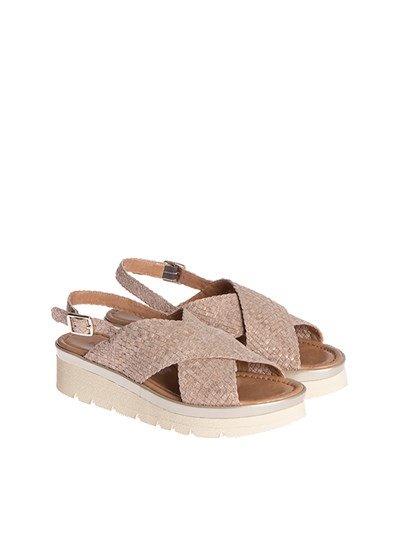 Beige suede woven suede, lurex effect, strap closure, rubber sole. - Pons Quintana - Asia sandals