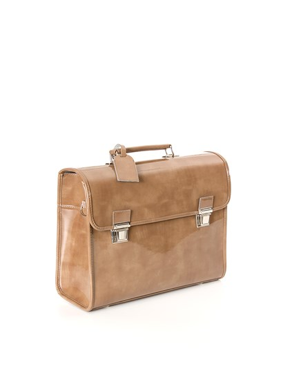 Glacé-color marble effect patent satchel. adjustable and detachable shoulder strap and tag. - Escudama - Satchel