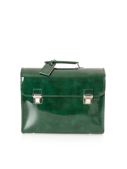 English green marble effect patent satchel with shoulder strap. adjustable and detachable shoulder strap and tag. - Escudama - Satchel