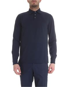 Zanone - Icecotton blue long sleeve polo shirt