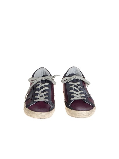 Purple satin fabric and blue suede sneakers, rubber sole. - Golden Goose Deluxe Brand - Superstar sneakers