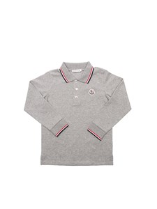 Moncler Jr - Grey long sleeve polo