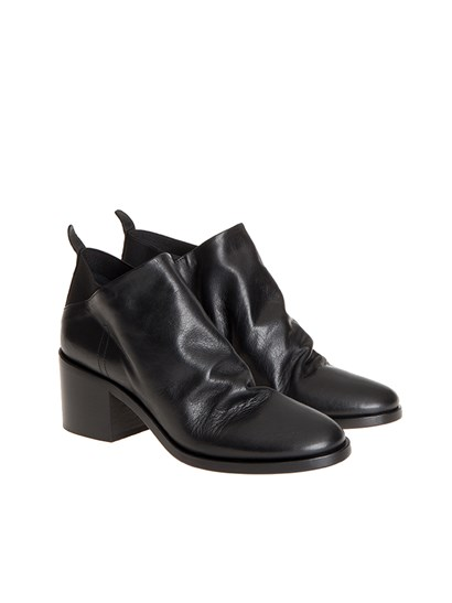 Black brushed leather ankle boots, elastic sides. - Strategia - Leather ankle boots