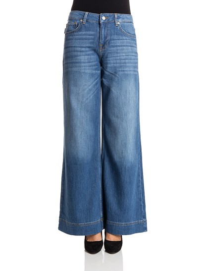 Light blue 5 pockets  wide leg jeans, medium stone wash, metal details, zip and button closure. - Zadig & Voltaire - Palazzo jeans