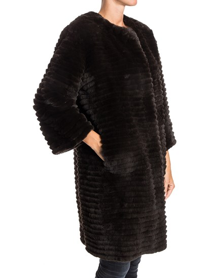 Brown fur and wool reversible coat, side slit pockets, inner patch pockets, snap buttons closure. - Simonetta Ravizza - Reversible fur