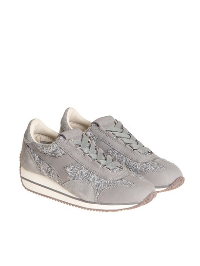 Gray suede sneakers, gray melange mesh inserts, white brown, and gray rubber sole. - Diadora Heritage - Equipe HH Tricot sneakers