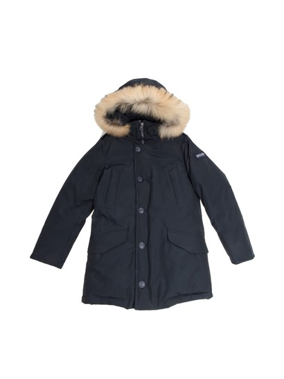 Blue hooded down jacket, front welt pockets and flap pockets, knitted cuffs, hood removable fur insert, shoulders frog buttons, drawstring and pockets inside, zip and buttons closure. - Woolrich - Polar parka