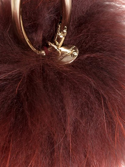 Burgundy fur pom pon key ring, golden metal carabiner. - Yves Salomon - Key ring