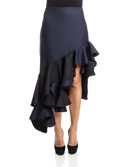 Blue and black wool  skirt, side slit and ruffles on the bottom, zip closure on the back. - Jacquemus - Wool skirt