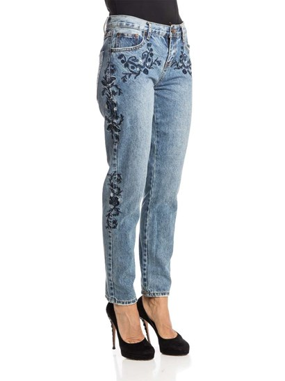 Blue cotton Jeans, dark blue floral embroidery, medium stone washed, 5 pockets, zip and button closure. - Onetaspoon - Blue Muse Lola AWE Jeans