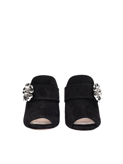 Suede shoes Colour: black Silver floral insert detail Chunky heel Rubber sole - Prada - Open toe shoes