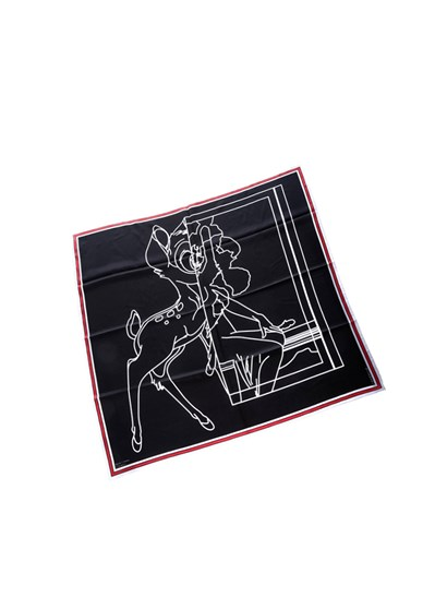 Silk foulard Colour: black  White print  White and red edges - Givenchy - Square foulard