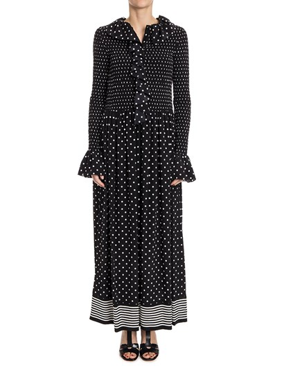 Silk jumpsuit Colour: black White polka dots and stripes on the bottom Culotte pants with side pockets Front ruffles detail Front buttons closure - Stella McCartney - Jumpsuit