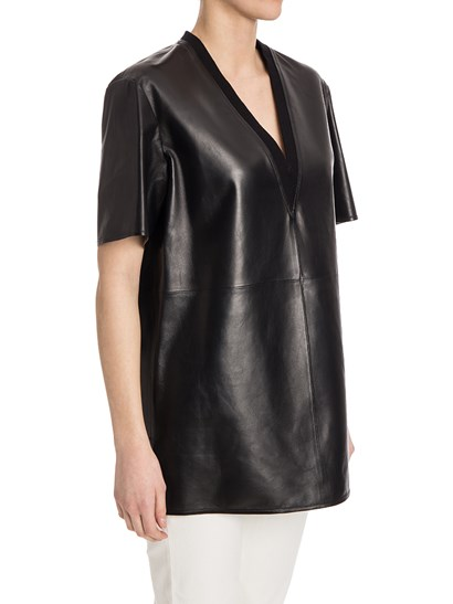 Leather top Colour: black Ribbed V-neck  Side vents - Givenchy - Leather top
