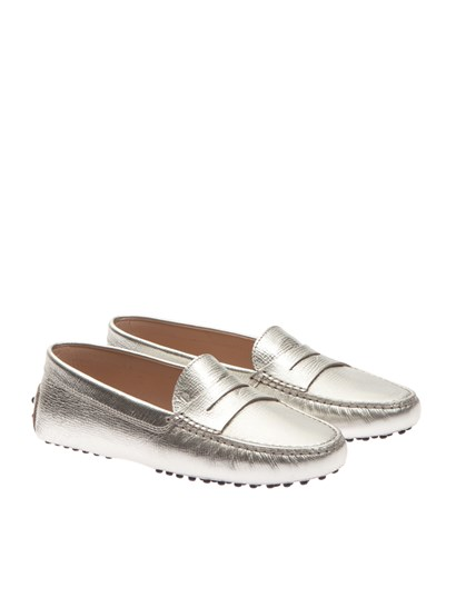 Leather loafers Color: silver Leather sole with rubber tips - Tod's - Loafers