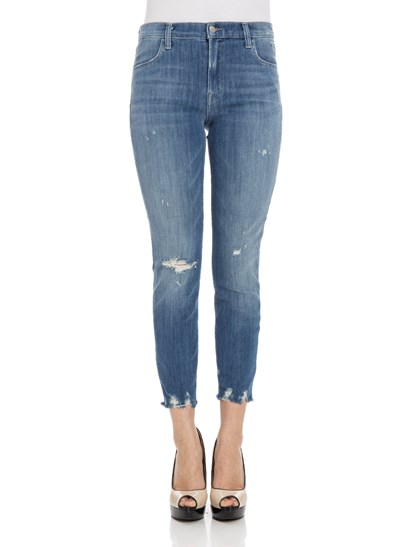 5 pocket jeans Color: blue Light stone wash Rips detail Fringed bottom Zip and button closure - J Brand - Fantasy jeans
