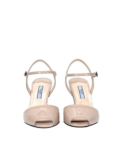 Patent leather sandals Colour: beige Silver metal details Carved wedge  Leather sole - Prada - Leather sandals