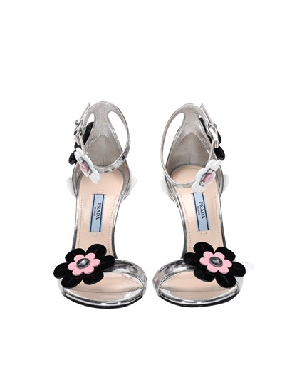 Leather sandals Color: silver Black, white and pink leather floral inserts Ankle strap closure Leather sole - Prada - Leather sandals